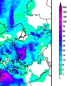 GFS modeline göre önümüzdeki cuma akşamına kadar düşecek yağış miktarı (metrekareye kilogram cinsinden)... Ortadaki morluğa bakın, Marmara Bölgesi'ni hemen seçeceksiniz.